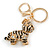Clear Crystal, Black Enamel Baby Tiger Keyring/ Bag Charm In Gold Tone Metal - 7cm L - view 2