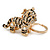 Clear Crystal, Black Enamel Baby Tiger Keyring/ Bag Charm In Gold Tone Metal - 7cm L - view 1