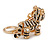 Clear Crystal, Black Enamel Baby Tiger Keyring/ Bag Charm In Gold Tone Metal - 7cm L - view 5
