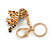Clear Crystal, Black Enamel Baby Tiger Keyring/ Bag Charm In Gold Tone Metal - 7cm L - view 3