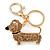 Light Topaz Crystal Badger-Dog Keyring/ Bag Charm In Gold Tone Metal - 7cm L - view 2