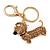 Light Topaz Crystal Badger-Dog Keyring/ Bag Charm In Gold Tone Metal - 7cm L - view 3