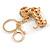 Light Topaz Crystal Badger-Dog Keyring/ Bag Charm In Gold Tone Metal - 7cm L - view 4