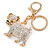 Clear Crystal White/ Black Enamel Bulldog Dog Keyring/ Bag Charm In Gold Tone - 7cm L - view 2