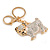 Clear Crystal White/ Black Enamel Bulldog Dog Keyring/ Bag Charm In Gold Tone - 7cm L - view 3