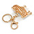 Clear Crystal White/ Black Enamel Bulldog Dog Keyring/ Bag Charm In Gold Tone - 7cm L - view 4