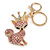 Pink/ Ab Crystal Queen Fox Keyring/ Bag Charm In Gold Plating - 10cm L - view 2