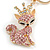 Pink/ Ab Crystal Queen Fox Keyring/ Bag Charm In Gold Plating - 10cm L - view 3