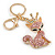Pink/ Ab Crystal Queen Fox Keyring/ Bag Charm In Gold Plating - 10cm L - view 4