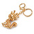Pink/ Ab Crystal Queen Fox Keyring/ Bag Charm In Gold Plating - 10cm L - view 5