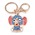 Blue Crystal Pink/ White Enamel Baby Elephant Keyring/ Bag Charm In Gold Tone Metal - 8cm L