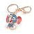Blue Crystal Pink/ White Enamel Baby Elephant Keyring/ Bag Charm In Gold Tone Metal - 8cm L - view 5