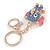 Blue Crystal Pink/ White Enamel Baby Elephant Keyring/ Bag Charm In Gold Tone Metal - 8cm L - view 7