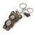 Grey/ Clear Crystal Baby Bear Keyring/ Bag Charm In Silver Tone Metal - 13cm L - view 3