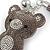 Grey/ Clear Crystal Baby Bear Keyring/ Bag Charm In Silver Tone Metal - 13cm L - view 4