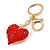 Hot Red Crystal Puffed Heart Keyring/ Bag Charm In Gold Tone Metal  - 8cm L - view 2