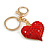 Hot Red Crystal Puffed Heart Keyring/ Bag Charm In Gold Tone Metal  - 8cm L - view 3