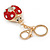 Red/ Ab Crystal Ladybug Keyring/ Bag Charm In Gold Tone Metal - 8cm L - view 5