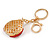 Red/ Ab Crystal Ladybug Keyring/ Bag Charm In Gold Tone Metal - 8cm L - view 6