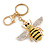 Yellow/ Black/ Clear Crystal Bee Keyring/ Bag Charm In Gold Tone Metal - 9cm L - view 2