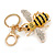 Yellow/ Black/ Clear Crystal Bee Keyring/ Bag Charm In Gold Tone Metal - 9cm L - view 3