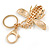 Yellow/ Black/ Clear Crystal Bee Keyring/ Bag Charm In Gold Tone Metal - 9cm L - view 4
