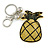 Yellow/ Green Crystal Pineapple Keyring/ Bag Charm In Silver Tone Metal - 11cm L - view 4