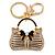 Clear/ AB Crystal, Black Enamel Puffed Bag Keyring/ Bag Charm In Gold Tone - 9cm L