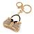 Clear/ AB Crystal, Black Enamel Puffed Bag Keyring/ Bag Charm In Gold Tone - 9cm L - view 2