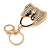 Clear/ AB Crystal, Black Enamel Puffed Bag Keyring/ Bag Charm In Gold Tone - 9cm L - view 3