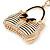 Clear/ AB Crystal, Black Enamel Puffed Bag Keyring/ Bag Charm In Gold Tone - 9cm L - view 4