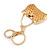 Clear/ AB Crystal, Black Enamel Puffed Bag Keyring/ Bag Charm In Gold Tone - 9cm L - view 5