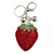 Red/ Green/ Black Crystal Strawberry Keyring/ Bag Charm In Silver Tone Metal - 11cm L - view 4