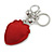 Red/ Green/ Black Crystal Strawberry Keyring/ Bag Charm In Silver Tone Metal - 11cm L - view 2