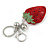 Red/ Green/ Black Crystal Strawberry Keyring/ Bag Charm In Silver Tone Metal - 11cm L - view 3