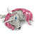 Clear Crystal, Pink Enamel Unicorn Keyring/ Bag Charm In Silver Tone Metal - 10cm L - view 2
