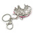 Clear Crystal, Pink Enamel Unicorn Keyring/ Bag Charm In Silver Tone Metal - 10cm L - view 4