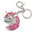 Clear Crystal, Pink Enamel Unicorn Keyring/ Bag Charm In Silver Tone Metal - 10cm L - view 5