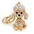 AB Crystal Puppy Poodle Dog Keyring/ Bag Charm In Gold Tone Metal - 10cm L - view 2
