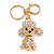AB Crystal Puppy Poodle Dog Keyring/ Bag Charm In Gold Tone Metal - 10cm L - view 3