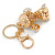 AB Crystal Puppy Poodle Dog Keyring/ Bag Charm In Gold Tone Metal - 10cm L - view 4