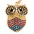 Multicoloured Crystal Owl Keyring/ Bag Charm In Gold Tone - 10cm L - view 2