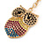 Multicoloured Crystal Owl Keyring/ Bag Charm In Gold Tone - 10cm L - view 3