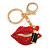 Sexy Red Crystal, Black Enamel Lips and Lipstick Keyring/ Bag Charm In Gold Tone Metal - 7cm L