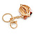 Sexy Red Crystal, Black Enamel Lips and Lipstick Keyring/ Bag Charm In Gold Tone Metal - 7cm L - view 2