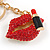 Sexy Red Crystal, Black Enamel Lips and Lipstick Keyring/ Bag Charm In Gold Tone Metal - 7cm L - view 3