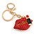 Sexy Red Crystal, Black Enamel Lips and Lipstick Keyring/ Bag Charm In Gold Tone Metal - 7cm L - view 4