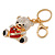 Clear/ Black Crystal Teddy Bear with Red Heart Keyring/ Bag Charm In Gold Tone Metal - 10cm L - view 3