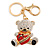 Clear/ Black Crystal Teddy Bear with Red Heart Keyring/ Bag Charm In Gold Tone Metal - 10cm L - view 4