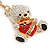 Clear/ Black Crystal Teddy Bear with Red Heart Keyring/ Bag Charm In Gold Tone Metal - 10cm L - view 2